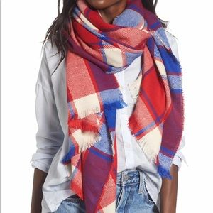 Nordstrom BP rec and blue plaid scarf